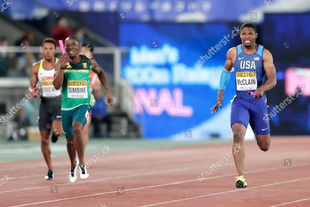 Remontay McClain (R) of the USA competes against Akani Simbine (C) of South Africa and Robin Erewa (L) of Germany in the Men's 4x200m Relay Final at the IAAF World Relays 2019 in Yokohama, south of Tokyo, Japan, 12 May 2019.