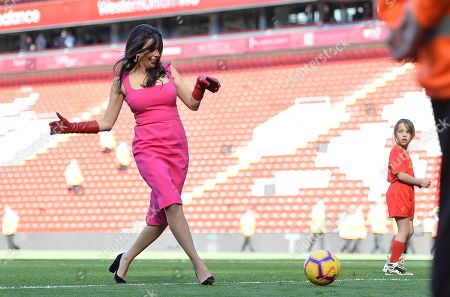 Linda Pizzuti Henry, wife of Liverpool owner John W. Henry, on the pitch after the English Premier League match between Liverpool FC and Wolverhampton Wanderers FC at Anfield, Liverpool, Britain, 12 May 2019.