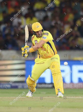Chennai super King's Shane Watson plays a shot during the VIVO IPL T20 cricket final match between Mumbai Indians and Chennai Super Kings in Hyderabad, India
