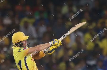 Stock Image of Chennai Super King's Shane Watson plays a shot during the VIVO IPL T20 cricket final match between Mumbai Indians and Chennai Super Kings in Hyderabad, India