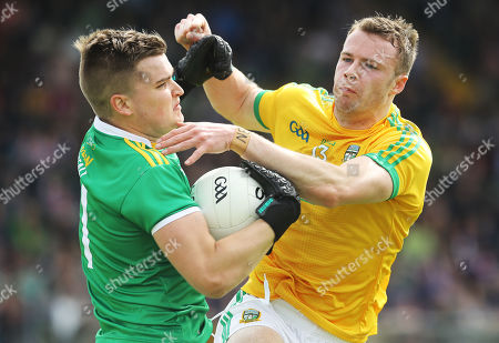 Meath vs Offaly. Meath's Andrew Colgan and Bernard Allen of Offaly