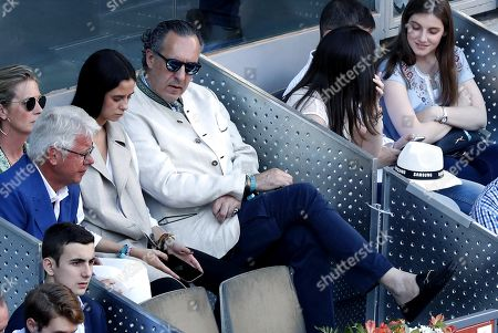 Spanish Princess Elena's daughter Victoria Federica (3-L) and her father Jaime de Marichalar (4-L)  at the Mutua Madrid Open tennis tournament in Madrid, Spain, 12 May 2019.
