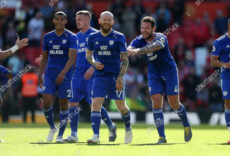 Aron Gunnarsson and Sean Morrison of Cardiff City share a joke at full time.