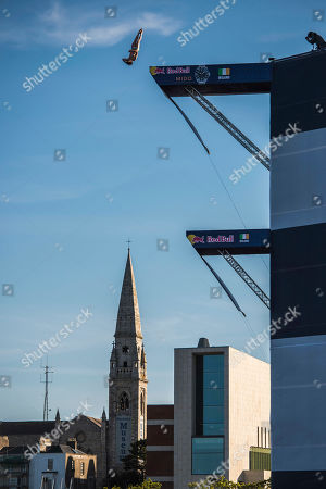 Gary Hunt of the UK dives from the 27 metre platform at Dun Laoghaire Harbour during the final competition day of the second stop of the Red Bull Cliff Diving World Series