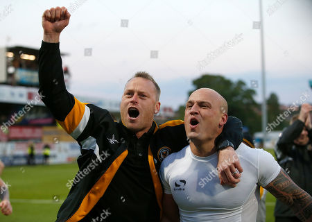 Newport County's manager Michael Flynn celebrates with David Pipe