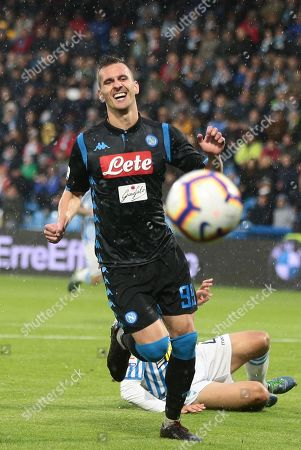 Napoli's Arkadiusz Milik in action during the Italian Serie A soccer match between Spal 2013 and SSC Napoli at Paolo Mazza Stadium in Ferrara, Italy,12 May 2019.