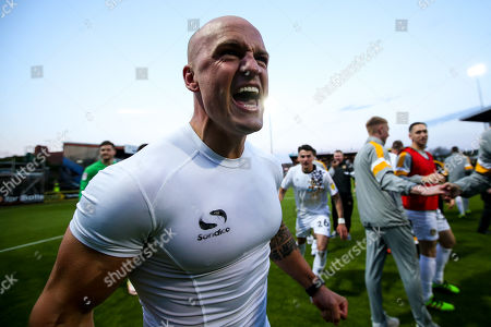 David Pipe of Newport County celebrates after winning through to the Sky Bet League Two Playoff Final