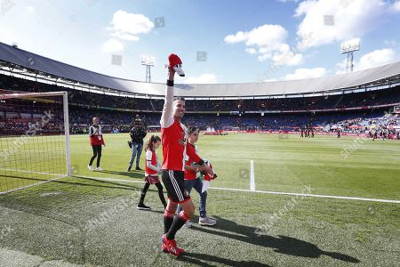 Feyenoord's Robin van Persie waves to the fans during his farewell ceremony after the Dutch Eredivisie soccer match between Feyenoord and Den Haag in Rotterdam, The Netherlands, 12 May 2019.