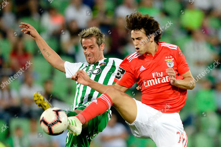 Stock Image of Rio Ave's Fabio Coentrao (L) fights for the ball with Joao Felix of Benfica during the Portuguese First League soccer match Rio Ave vs Benfica held at Rio Ave Futebol Clube (Arcos) Stadium, in Vila do Conde, Portugal, 12 May 2019.