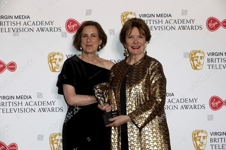 Kirsty Wark. Joan Bakewell. Journalists Kirsty Wark and Joan Bakewell pose for photographers after appearing at the 2019 BAFTA Television Awards in London, . Joan Bakewell received a BAFTA fellowship