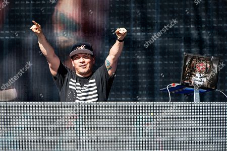 Mix Master Mike performs on stage at KAABOO Texas at AT&T Stadium, in Arlington, Texas