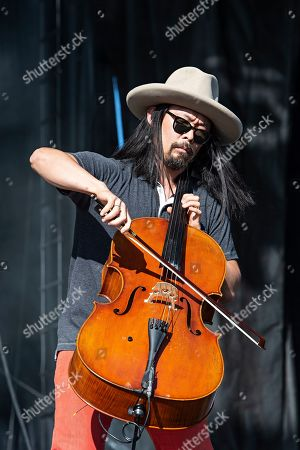Joe Kwon of The Avett Brothers performs on stage at KAABOO Texas at AT&T Stadium, in Arlington, Texas