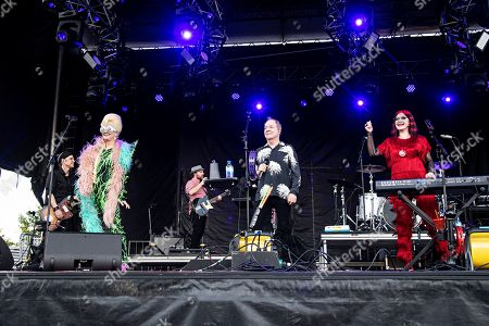 Cindy Wilson; Fred Schneider; Kate Pierson. Cindy Wilson, from left, Fred Schneider, and Kate Pierson of the B52s perform on stage at KAABOO Texas at AT&T Stadium, in Arlington, Texas
