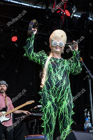 Cindy Wilson of the B52s performs on stage at KAABOO Texas at AT&T Stadium, in Arlington, Texas