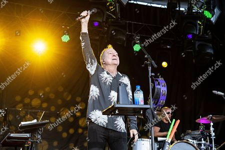 Fred Schneider of the B52s performs on stage at KAABOO Texas at AT&T Stadium, in Arlington, Texas