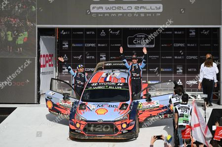 French Sebastien Loeb (R) and Daniel Elena of Hyundai team celebrate their third place at podium of the Rally Chile 2019, in Concepcion, Chile, 12 May 2019.
