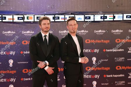Finland's Darude (R) and Sebastian Rejman pose on the orange carpet at the opening ceremony of the 64th annual Eurovision Song Contest (ESC) at Habima square in Tel Aviv, Israel, 12 May 2019 (issued 13 May 2019). The 2019 ESC will be held in Tel Aviv from 14 to 18 May.