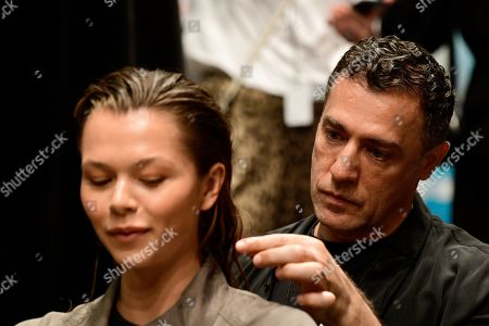 Goodwill Hair Director John Pulitano (R) styles the hair of Australian Victoria Secret model Alannah Walton (L) backstage prior to the Tigerlily show during the Mercedes-Benz Fashion Week Australia in Sydney, Australia, 13 May 2019.