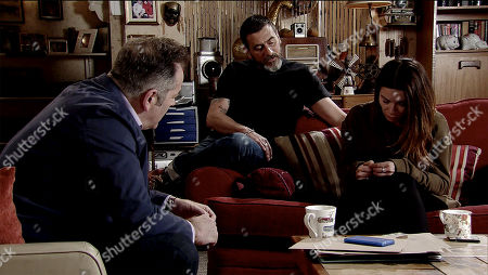 Ep 9780 Monday 27th May 2019 Carla Connor's, as played by Alison King, mental health practitioner, Scott, calls at the flat. He's concerned to see that she's still suffering from paranoia. As Scott and Peter discuss her condition, Carla listens in a state of high anxiety. With Peter Barlow, as played by Chris Gascoyne.