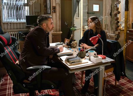 Stock Photo of Ep 9778 Friday 24th May 2019 - 1st Ep Toyah Battersby, as played by Georgia Taylor, call at Rick's, as played by Greg Wood, office and quiz him about Nick Tilsley. Rick's adamant he's never heard of him and leaves her frustrated.