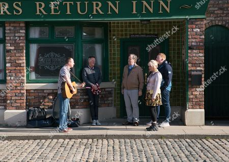 Ep 9775 Monday 20th May 2019 - 2nd Ep Kirk Sutherland, as played by Andy Whyment, performs his special song for Beth Tinker, as played by Lisa George, outside the pub. Beth's deeply touched. Kirk leaves in a taxi for his musical tour and Beth bids him an emotional farewell. With Sean Tully, as played by Antony Cotton, Brian Packham, as played by Peter Gunn, Craig Tinker, as played by Colson Smith.