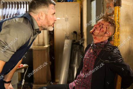 Ep 9781 Tuesday 28th May 2019 A dazed Gary Windass, as played by Mikey North, wakes up in Rick's, as played by Greg Wood, office tied to a radiator. Rick accuses Gary of getting Sarah to do his dirty work by breaking into his office and stealing his stash of passports. Gary denies it but Rick's disbelieving.