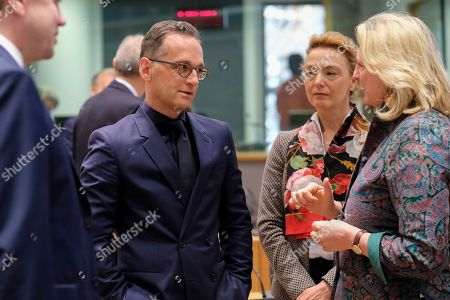 (L-R) Heiko Maas, the Foreign Minister of Germany, Croatian Foreign Minister Marija Pejcinovic Buric and Austrian Foreign Minister Karin Kneissl during a joint Foreign Affairs Council / Eastern Partnership in Brussels, Belgium, 13 May 2019.