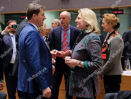 Slovenia Foreing Minister Miro Cerar (L) and Austrian Foreign Minister Karin Kneissl (2-R) during a joint Foreign Affairs Council / Eastern Partnership in Brussels, Belgium, 13 May 2019.