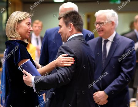 Stock Photo of (L-R) European Union foreign policy chief Federica Mogherini, Minister of Foreign Affairs of Ukraine Pavlo Klimkin and Polish Foreign Minister Jacek Czaputowicz during a joint Foreign Affairs Council / Eastern Partnership in Brussels, Belgium, 13 May 2019.