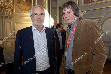 Mayor of Dijon, Francois Rebsamen and Bernard Thibault at a reception for international delegations prior to the CGT confress at Dijon town hall.