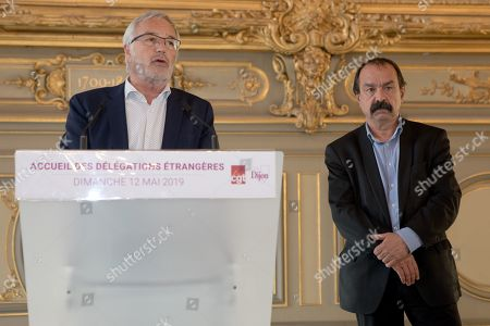 Mayor of Dijon, Francois Rebsamen and Philippe Martinez at a reception for international delegations prior to the CGT confress at Dijon town hall.