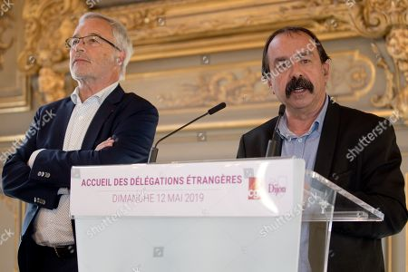 Francois Rebsamen and Philippe Martinez at a reception for international delegations prior to the CGT confress at Dijon town hall.