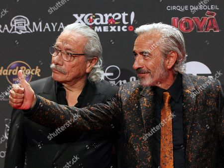 Edward James Olmos (L) and Spanish actor Imanol Arias (R) arrive for the sixth Platino Awards ceremony at the Xcaret park in Playa del Carmen, Riviera Maya, Mexico, 12 May 2019 (issued 13 May 2019).