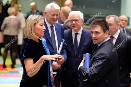 Stock Photo of (L-R) European Union foreign policy chief Federica Mogherini, Romanian Foreign Minister Teodor-Viorel Melescanu, Polish Foreign Minister Jacek Czaputowicz  and Minister of Foreign Affairs of Ukraine Pavlo Klimkin during a joint Foreign Affairs Council / Eastern Partnership in Brussels, Belgium, 13 May 2019.