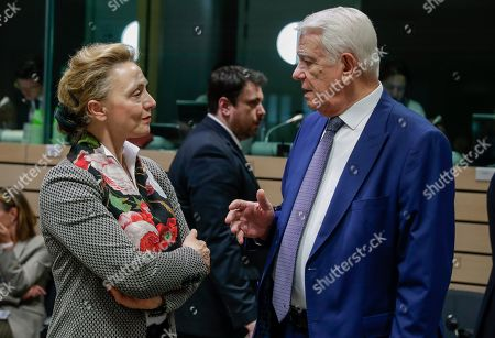 Croatian Foreign Minister Marija Pejcinovic Buric (L) and Minister of Foreign Affairs of Romania Teodor Melescanu  during a Foreign Affairs Council at the European Council in Brussels, Belgium, 13 May 2019.