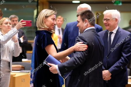 Stock Picture of (L-R) European Union foreign policy chief Federica Mogherini, Minister of Foreign Affairs of Ukraine Pavlo Klimkin and Polish Foreign Minister Jacek Czaputowicz during a joint Foreign Affairs Council / Eastern Partnership in Brussels, Belgium, 13 May 2019.