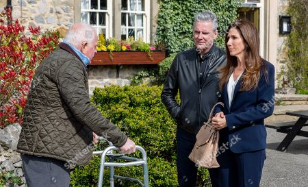 Ep 8480 Friday 17th May 2019 Megan Macey's, as played by Gaynor Faye, overcome with guilt and is determined to tell Pollard, as played by Chris Chittell, the truth about the accident. But will she? Also pictured Frank, as played by Michael Praed.