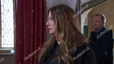 Ep 8477 Thursday 16th May 2019 - 1st Ep Harriet Finch, as played by Katherine Dow Blyton, is fuming as she discovers an injured Dawn and locks her in the house to head off towards the Church. She's furious as she faces Will, as played by Dean Andrews, for the first time.