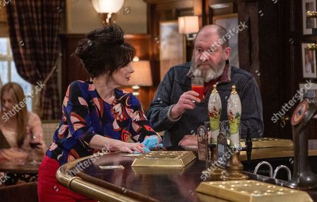 Ep 8491 Thursday 30th May 2019 Faith Dingle, as played by Sally Dexter, makes her feelings clear over Bear Wolf, as played by Joshua Richards.