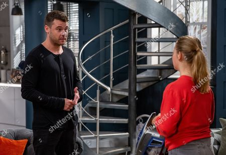 Ep 8483 Tuesday 21st May 2019 - 2nd Ep Aaron Dingle, as played by Danny Miller, is thrown when David reveals Liv's, as played by Isobel Steele, blackmailing.