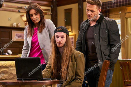 Ep 8481 Monday 20th May 2019 David Metcalfe, as played by Matthew Wolfenden, manages to convince an uncomfortable Ryan Stocks, as played by James Moore, to install spy software on Jacob's laptop, allowing him to monitor his communication with Maya. With Leyla Harding, as played by Rokhsaneh Ghawam-Shahidi.