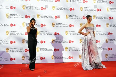 Naga Munchetty (L) and Anna Passey (R) attend the Virgin Media British Academy Television Awards at the Royal Festival Hall in London, Britain, 12 May 2019. The ceremony is hosted by the British Academy of Film and Television Arts (BAFTA).