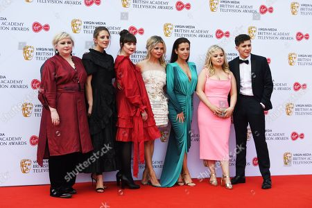 (2L-R) Louisa Harland, Kathy Kiera Clarke, Saoirse-Monica Jackson, Jamie-Lee O'Donnell, Nicola Coughlan and Dylan Llewellyn, and attend the Virgin Media British Academy Television Awards at the Royal Festival Hall in London, Britain, 12 May 2019. The ceremony is hosted by the British Academy of Film and Television Arts (BAFTA).
