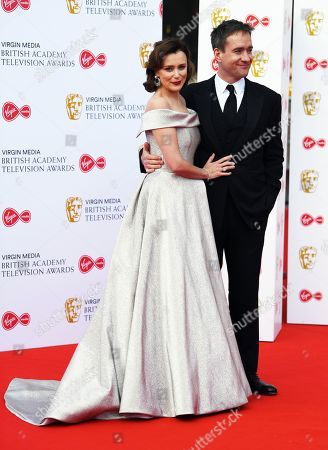 Keeley Hawes (L) and Matthew Macfadyen (R) attend the Virgin Media British Academy Television Awards at the Royal Festival Hall in London, Britain, 12 May 2019. The ceremony is hosted by the British Academy of Film and Television Arts (BAFTA).