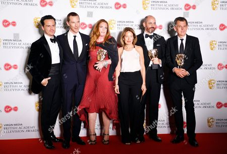 The Cast and Crew of Patrick Melrose Andrew Scott (L), Benedict Cumberbatch (2-L) Helen Flint (3-L), Edward Berger (2-R) and Michael Jackson (R) after winning the award for Best Mini-Series in the press room at the Virgin Media British Academy Television Awards at the Royal Festival Hall in London, Britain, 12 May 2019. The ceremony is hosted by the British Academy of Film and Television Arts (BAFTA).