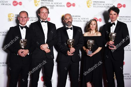 Evan Williams, Patrick Wells, Gary Beelders, Eve Lucas and Dan Edge in the press room after winning the award for Current Affairs in the press room at the Virgin Media British Academy Television Awards at the Royal Festival Hall in London, Britain, 12 May 2019. The ceremony is hosted by the British Academy of Film and Television Arts (BAFTA).