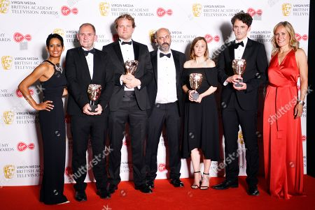 Naga Munchetty, Evan Williams, Patrick Wells, Gary Beelders, Eve Lucas and Dan Edge, Sophie Raworth in the press room after winning the award for Current Affairs in the press room at the Virgin Media British Academy Television Awards at the Royal Festival Hall in London, Britain, 12 May 2019. The ceremony is hosted by the British Academy of Film and Television Arts (BAFTA).