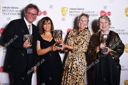 Adam Gee, Sally Angel, Amanda Murphy and Victoria Mappleback in the press room after winning the award for Best Short Form Programme in the press room at the Virgin Media British Academy Television Awards at the Royal Festival Hall in London, Britain, 12 May 2019. The ceremony is hosted by the British Academy of Film and Television Arts (BAFTA).