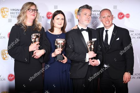 Colette Flight, Sarah Feltes, David Vincent and presenter Robert Rinder winners of the Features award for 'Who Do You Think You Are?', in the press room at the Virgin Media British Academy Television Awards at the Royal Festival Hall in London, Britain, 12 May 2019. The ceremony is hosted by the British Academy of Film and Television Arts (BAFTA).