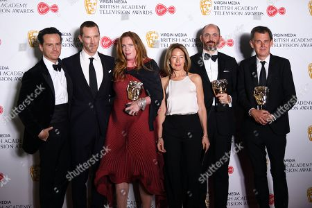 Stock Picture of The Cast and Crew of Patrick Melrose Andrew Scott (L), Benedict Cumberbatch (2-L) Helen Flint (3-L), Edward Berger (2-R) and Michael Jackson (R) after winning the award for Best Mini-Series in the press room at the Virgin Media British Academy Television Awards at the Royal Festival Hall in London, Britain, 12 May 2019. The ceremony is hosted by the British Academy of Film and Television Arts (BAFTA).